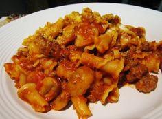 Pasta with Sausage, Tomatoes & Mushrooms