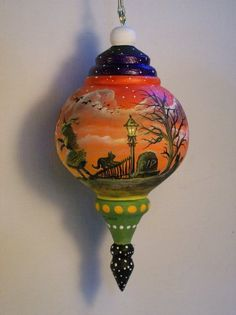 Wood Spindle Halloween Ornament  Artist Ron Byrum