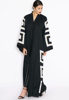 Shop Hayas Closet black Box Embroidered Abaya for Women in UAE