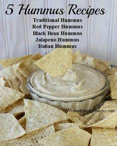 5 Hummus Recipes including Traditional Hummus Recipe, Red Pepper Hummus Recipe, Black Bean Hummus Recipe, Italian Hummus Recipe, and Jalapeno Hummus Recipe.
