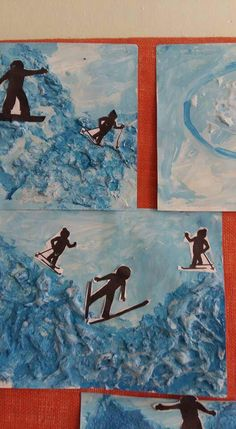 Activities For Kids, Crafts For Kids, Arts And Crafts, Winter Art Projects, Art Plastique, Winter Sports, Decoration, Artwork, Painting