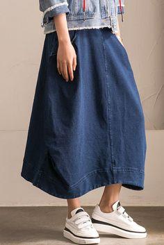 2017 Denim Cotton Skirt Simple Dress Women Clothes Q1186B