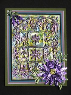 Foil and paint and embossing to create tiles or frames art
