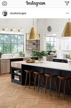 Black and white kitchen design with wood herringbone floors and brass pendant lights Kitchen Reno, New Kitchen, Kitchen Remodel, Kitchen Dining, Best Kitchen Layout, Kitchen Island, Kitchen Ideas, Kitchen Cabinets, Vogue Living