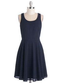 As the Night Unfolds Dress. You feel on top of the world as soon as you zip into this navy dress! #blue #modcloth