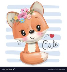 Cartoon fox with flowers on a striped background vector image on VectorStock Cute Animal Drawings, Cute Drawings, Anime Animals, Cute Animals, Cute Cartoon Animals, Cute Images, Cute Pictures, Disney Princess Cartoons, Looney Tunes Bugs Bunny