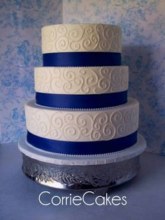 Wedding Cake Idea pretty could change color of ribbon or add bling on ribbon