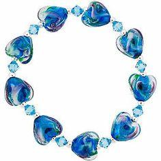 Glass Heart Silver-Plated Teal Stretch Bracelet on shopstyle.com