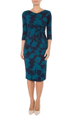 Anthea Crawford | Navy & Peacock Jersey Dress