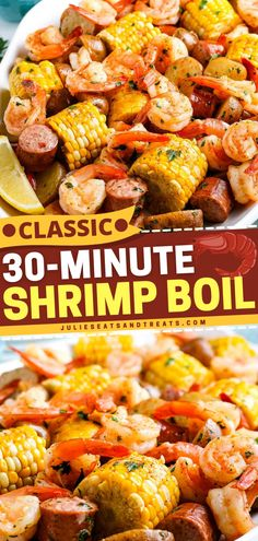 Out of Father's Day menu ideas? This Shrimp Boil is an Old Bay recipe with a mix of corn on the cob, shrimp, smoked sausage, and baby potatoes tossed in a seasoned butter. Plus, it's ready in just 30 minutes! Make this Father's Day meal!