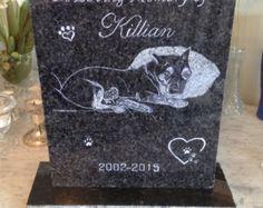 Custom Long Pet Memorial Stone Gravestone by PawsnRememberforPets