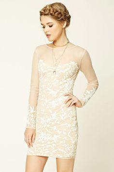 Semi-Sheer Floral Print Dress