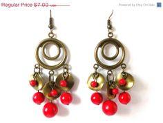 ON SALE  Black Friday Red Dangle Earrings Circle by LovingCorner, $6.30 #earrings #red #dangle #beaded #jewelry #long #brass #metal #woman #women #gift #christmas