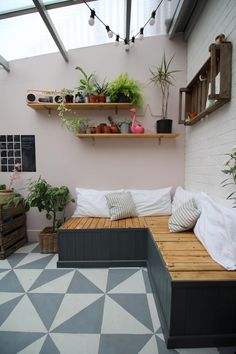 Creating an Indoor Garden Room: Conservatory Reveal - Kezzabeth Conservatory Decor Small, Conservatory Flooring, Small Sunroom, Conservatory Ideas Interior Decor, Conservatory Playroom, Lean To Conservatory, Small Garden Room Ideas, Garden Room Extensions, House Extensions