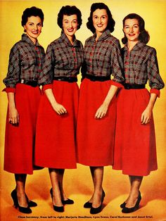 The Chordettes, 1955 (love their matching outfits).