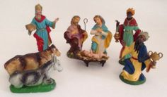 Vintage Lot 9 Nativity Chalkware Italy Christmas Plaster Papier Mache Donkey Cow $39.99 w/free US ship. #vintagenativity #chalkwarenativity
