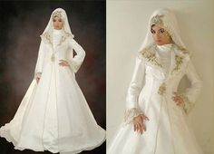 Islamic style two-piece satin and embroidery organza wedding dress. $305.00, via Etsy.