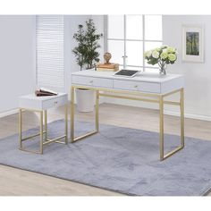 Add a glamorous touch to your workspace with the Acme Furniture Acme Coleen Writing Desk - White . This compact writing desk features a sleek top design. Mesa Home Office, Home Office Desks, Home Office Furniture, Wood And Metal Desk, Metal Desks, Brass Wood, White Writing Desk, White Office, Small Office