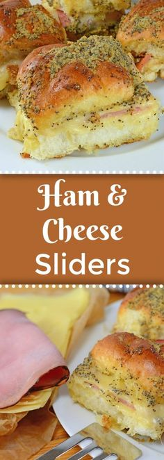These Ham and Cheese sliders are made with delicious honey ham and Swiss cheese on Hawaiian Rolls. So good therell never be any leftovers! - Ham - Ideas of Ham Ham And Cheese Sliders Hawaiian, Ham Cheese Sliders, Sliders With Hawaiian Rolls, Hawaiian Roll Ham Sandwiches, Ham And Swiss Sliders, Rolled Sandwiches, Onigirazu, Honey Ham, Slider Recipes