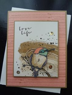 hand crafted card from Paper Ecstasy ... little bird (Kingfisher?) on a grunge/watercolr backgroun ... great design ... luve the look of kraft and dusty rose ... Stampin' Up!
