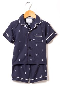 Looking for Boys Short Pajamas? These anchors are part of the Nautical Collection. Your little one will be tucked in love and off to dreamland with Petite Plume. www.petite-plume.com