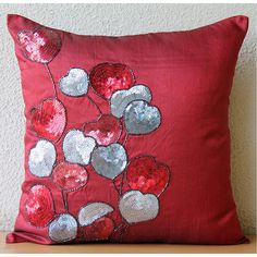 Decorative Pillow Covers Accent Pillows Couch Sofa 16x16 Inch Red Silk Pillow…