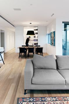 Apartments, Awesome Modern Apartment Interior Of Tel Aviv Apartment Called TLV Apartments3 Project Featuring Parquet Floor, Dining Table, Carpet And Grey Sofa: Inviting Modern Apartment Interior from a Penthouse in Tel Aviv