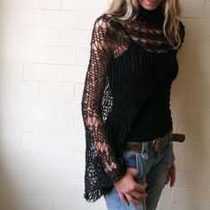 Black Shrug  Sweater Eco Fairtrade Cotton Loose weave by ileaiye. Definitely getting!