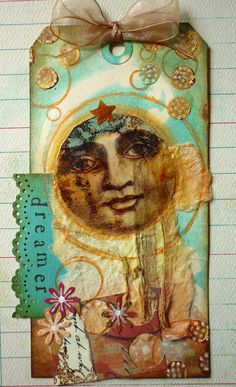 Original Collage Vintage Style Altered Tag by DancingGirlArt, $15.00
