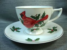 Lefton Japan Tea Cup & Saucer Set Red Cardinal Bird Christmas Holly #1297 #Lefton