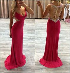 The see through red prom dress are fully lined, 4 bones in the bodice, chest pad in the bust, lace up back or zipper back are all available, total 126 colors are available. This dress could be custom made, there are no extra cost to do custom size and color.  Description 1, Material: jersey, ...