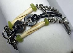 Handmade-Green Jade Stone-Carved Bovine Bone-Hex Nut-Black Leather Cord-Bracelet #Handmade #Statement