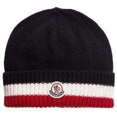 Moncler Blue, Red & White Wool Knit Hat at Childrensalon.com