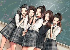 Cute Cartoon Characters, Cartoon Fan, Kpop Drawings, Cute Drawings, South Korean Girls, Korean Girl Groups, K Pop, Kpop Posters, Anime Version