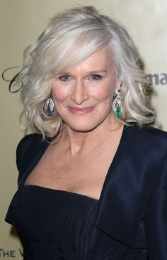 Glenn Close- love this style and the earrings!!