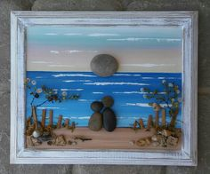 Pebble Art / Rock Art Couple looking over the by CrawfordBunch