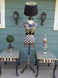 Whimsical Hand Painted Black and White Check by EddiesGarden, $300.00
