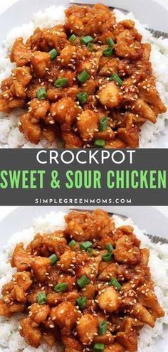 This easy and delicious slow cooker chicken recipe is the ultimate in setting and forgetting! It's a healthy alternative to your usual Chinese take-out. #slowcookerrecipes #easydinnerrecipes #recipes #crockpot #slowcooker Crockpot Sweet And Sour Chicken Recipe, Sweet Sour Chicken, Sauce For Chicken, Yummy Chicken Recipes, Easy Dinner Recipes, Chinese Food Menu, Slow Cooker Chicken, Slow Cooker Recipes, Easy Dinner Recipies