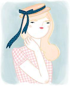 Illustration « Kris Atomic. Girl  in pink, love the hat.