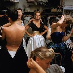 Backstage at a Jacques Fath fashion show circa 1950's.