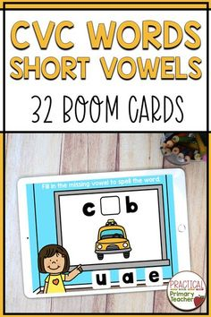 Are you looking for some great digital learning activities for your young learners? Check out these CVC Words digital Boom Cards! Students will fill in the missing vowel to complete the word on these self-checking cards! Great for distance learning or classroom stations. Teaching Phonics, Kindergarten Activities, Teaching Resources, Classroom Resources, Interactive Activities, Literacy Activities, Reading Activities, Literacy Stations, Literacy Centers