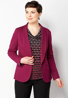 Solid Ponte Jacket, 9-0035962522, Solid Ponte Jacket Main View P275W