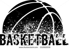 silhouette of an a basketball with dirt splatter and a grunge typeface of the word basketball