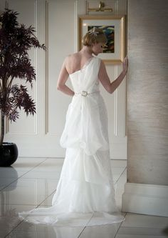 Now there's a pretty picture! A back shot of a Grecian style wedding dress from Millicent Bride Traditional Wedding Dresses, Pretty Pictures, One Shoulder Wedding Dress, Bride, Style, Fashion, Cute Pics, Wedding Bride, Swag
