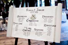 Gothic scroll wedding table plan.