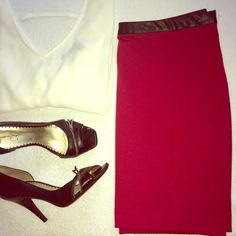 """Red Skirt with Faux Leather Trim NWOT Rampage stretch pencil skirt with faux leather trim around the waist and partial zipper in the back. Flexible enough for a flirty night out with girls or add a blazer for the office. Size is L, laying flat waist measures 16"""" and length is 17.5"""" Never worn, smoke/pet free home. Last photos are styling suggestions only. Rampage Skirts"""