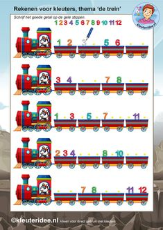 rekenen voor kleuters 3, steeds 1 minder, thema de trein, kleuteridee, free printable. Kindergarten Activities, Activities For Kids, Transportation Unit, Trains, Wheels On The Bus, Handwriting Practice, Busy Bags, Drawing For Kids, Homeschool