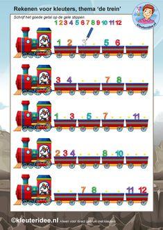rekenen voor kleuters 3, steeds 1 minder, thema de trein, kleuteridee, free…