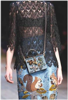 Dolce & Gabbana - Fall 2014 READY TO WEAR COLLECTION. Caricaturesque little animals and elements from the woods appliques