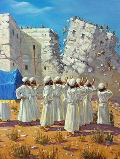 :: Faith :: Bible Stories :: Joshua When the people heard the sound of the rams' horns, they shouted as loud as they could. Suddenly, the walls of Jericho collapsed, and the Israelites charged straight into the town and captured it. Bible Pictures, Jesus Pictures, Jewish Art, Religious Art, Bible Art, Bible Scriptures, Turm Von Babylon, Arte Judaica, Religion